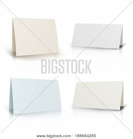 White Folder Paper Greeting Card Vector Template. Stationery Brochure For Presentation Card