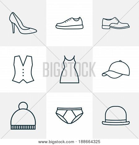 Clothes Outline Icons Set. Collection Of Gumshoes, Underpants, Fedora And Other Elements. Also Includes Symbols Such As Classic, Dress, Underpants.