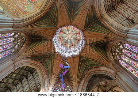 ELY, UK - MAY 26, 2017: The interior of the Cathedral - the Octagon ceiling (Lantern)