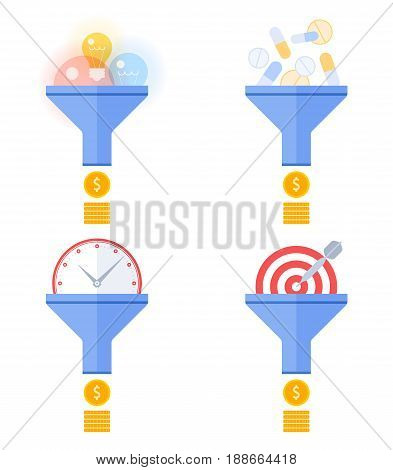 Funnel flow converts targeting, effective marketing, time management, ideas and innovations, drugs, cure to money. Flat concept illustration and infographic vector elements for business presentations.