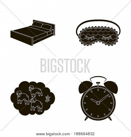 A bed, a blindfold, counting rams, an alarm clock. Rest and sleep set collection icons in black style vector symbol stock illustration .