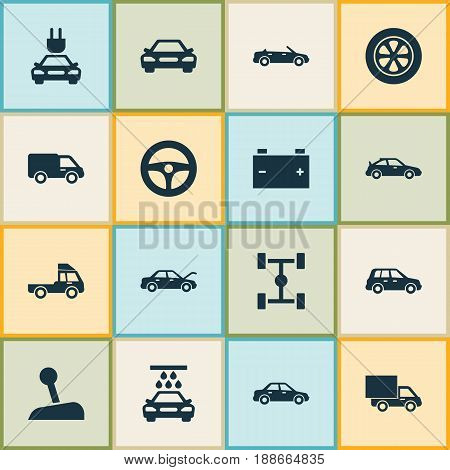 Car Icons Set. Collection Of Lorry, Wheel, Plug And Other Elements. Also Includes Symbols Such As Crossover, Convertible, Lever.