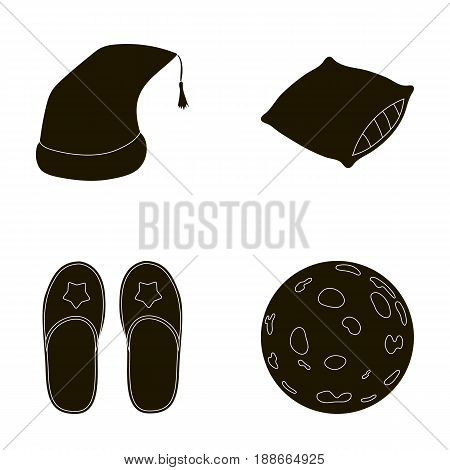 Night cap, pillow, slippers, moon. Rest and sleep set collection icons in black style vector symbol stock illustration .