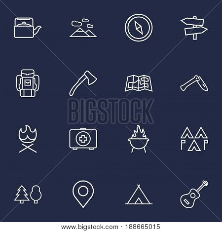 Set Of 16 Camping Outline Icons Set.Collection Of Guidepost, Medical Kit, Gps And Other Elements.