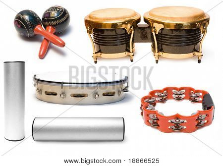 Collection from five musical instruments on white background