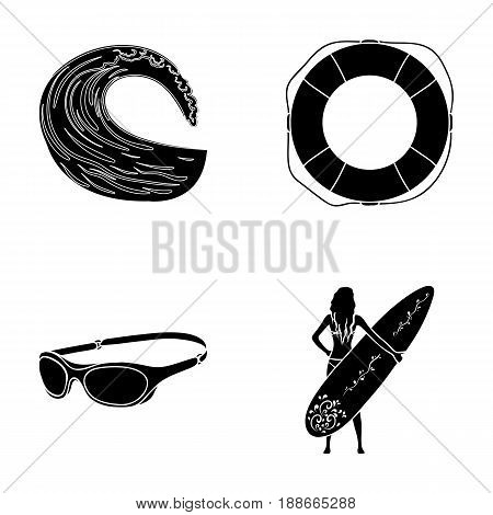 Oncoming wave, life ring, goggles, girl surfing. Surfing set collection icons in black style vector symbol stock illustration .