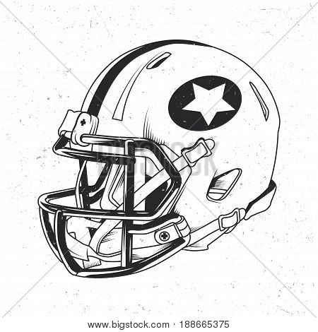 American football t-shirt label design with illustration of football helmet