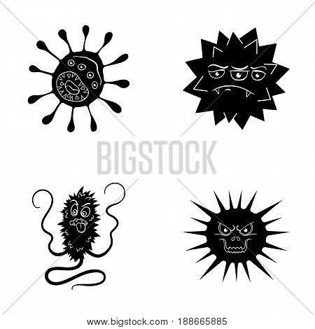 Different types of microbes and viruses. Viruses and bacteria set collection icons in black style vector symbol stock illustration .