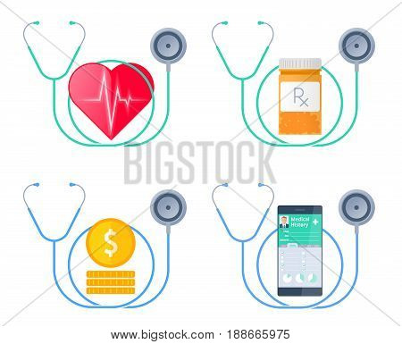 The stethoscope and a heart with pulse, money, bottle with drugs, smart phone with Patient Health medical history. Medicine, health care flat concept illustration. Vector design for infographics.
