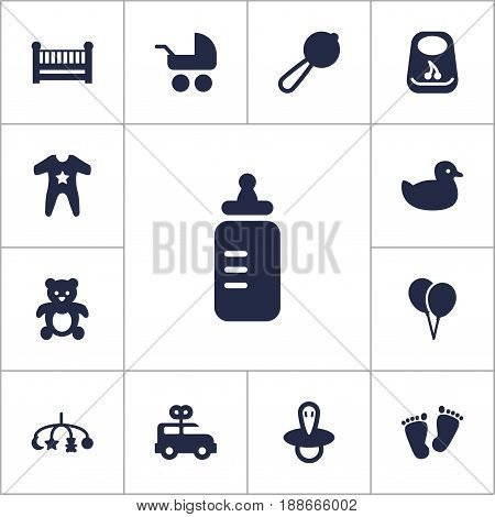 Set Of 13 Child Icons Set.Collection Of Trace, Teat, Milk And Other Elements.