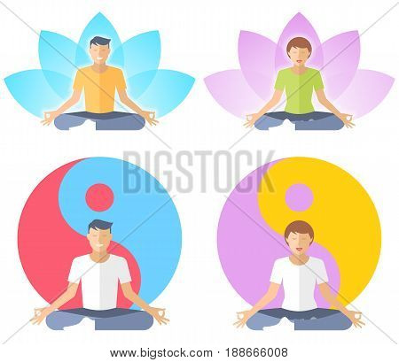 Young man and woman meditate in the lotus pose. People are sitting in the meditation on the yin-yang and a lotus flower signs background. Flat vector concept illustration of yoga, zen, and relaxation.