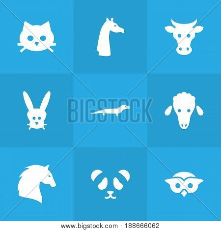 Set Of 9 Alive Icons Set.Collection Of Night Fowl, Camelopard, Kine And Other Elements.