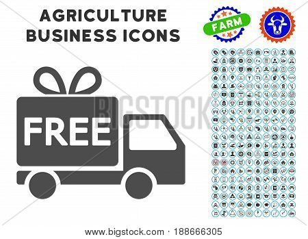 Free Delivery gray icon with agriculture business glyph pack. Vector illustration style is a flat iconic symbol. Agriculture icons are rounded with blue circles.