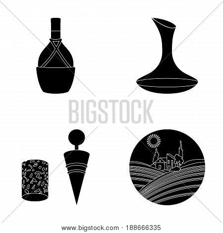 A bottle of wine in a basket, a gafine, a corkscrew with a cork, a grape valley. Wine production set collection icons in black style vector symbol stock illustration .