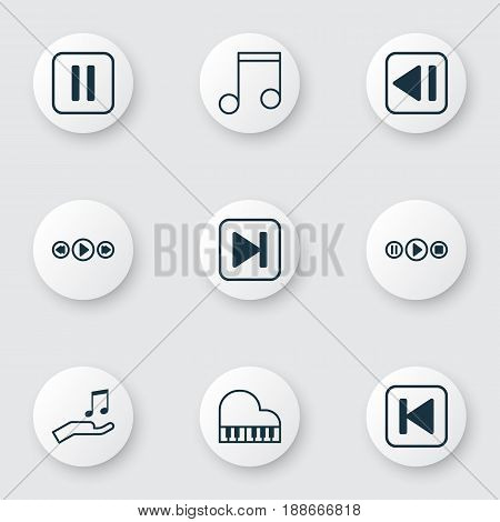 Audio Icons Set. Collection Of Mute Song, Skip Song, Last Song And Other Elements. Also Includes Symbols Such As Octave, Previous, Music.