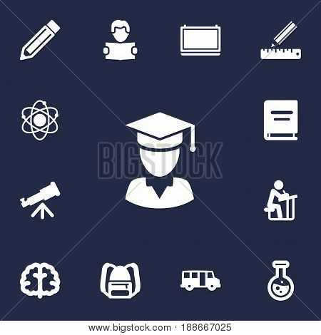 Set Of 13 Science Icons Set.Collection Of School Autobus, Marrow, Diplomaed Male And Other Elements.