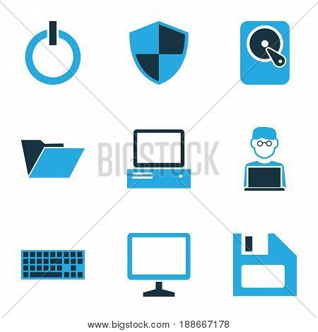 Computer Colorful Icons Set. Collection Of Firewall, Keypad, Laptop And Other Elements. Also Includes Symbols Such As Firewall, Button, Disk.