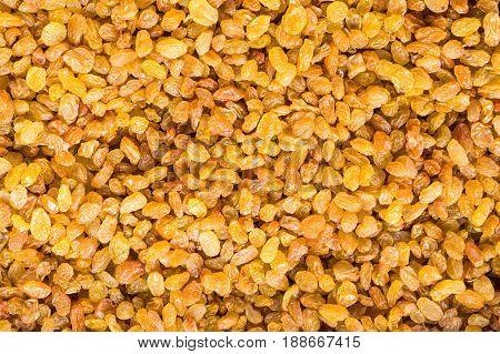 Exemplary fresh golden raisins on the market