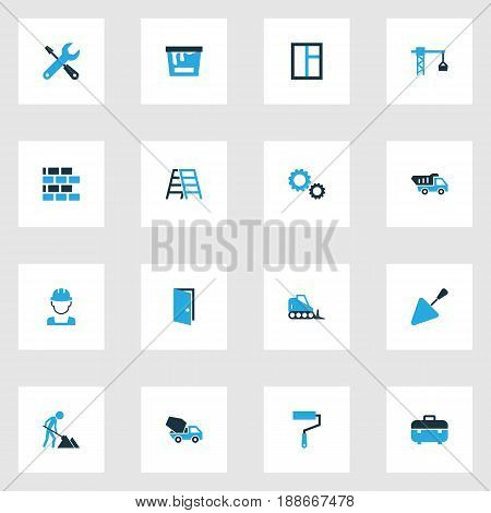 Industry Colorful Icons Set. Collection Of Glass, Stairs, Tip Truck And Other Elements. Also Includes Symbols Such As Dozer, Case, Masonry.