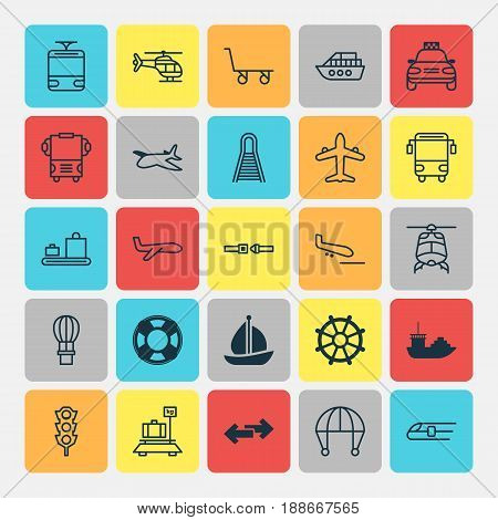 Transport Icons Set. Collection Of Chopper, Flight Basket, Lifebuoy And Other Elements. Also Includes Symbols Such As Traffic, Arrival, Boat.