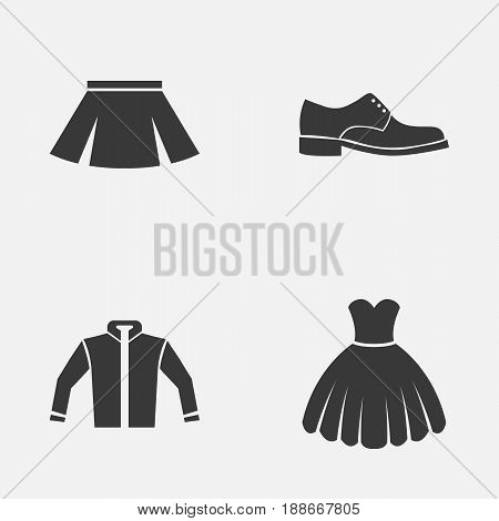 Garment Icons Set. Collection Of Elegance, Cardigan, Sarafan And Other Elements. Also Includes Symbols Such As Dress, Sundress, Cardigan.