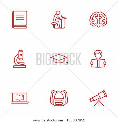 Set Of 9 Studies Outline Icons Set.Collection Of Telescope, Pupil, Backpack And Other Elements.