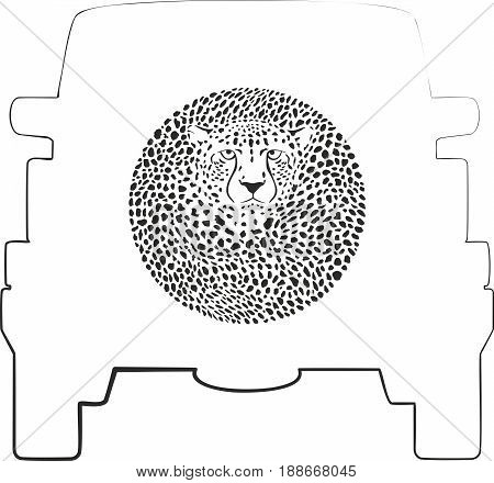 Vector label on a spare wheel cover - Cheetah, animal background