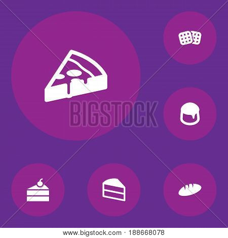 Set Of 6 Bakery Icons Set.Collection Of Loaf, Sweetmeat, Wafer And Other Elements.