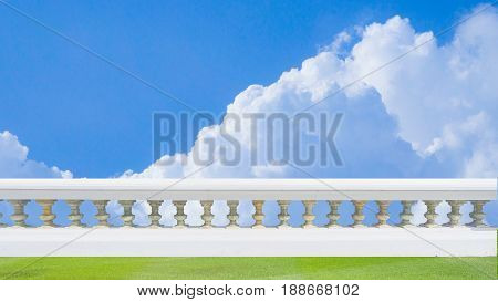 Classic design white beautiful banister railing for buliding or house for exterior architure and landscape garden with background isolated