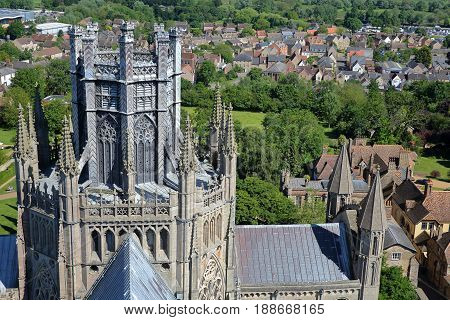 ELY, UK - MAY 26, 2017: The Cathedral - Close-up on the Octagon and Lantern Towers - picture taken from the top of the West Tower of the Cathedral