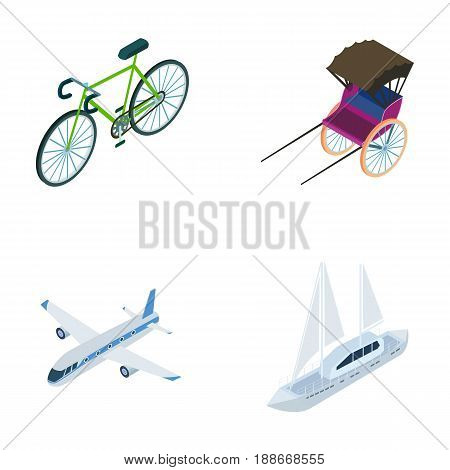 Bicycle, rickshaw, plane, yacht.Transport set collection icons in cartoon style vector symbol stock illustration .