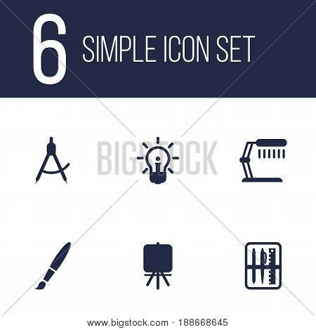 Set Of 6  Icons Set.Collection Of Brush, Illuminator, Case And Other Elements.