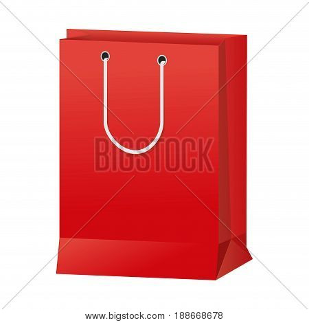 red paper shopping bag handle package icon vector illustration