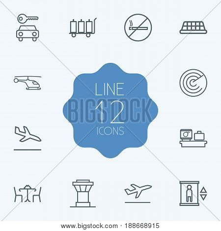 Set Of 12 Plane Outline Icons Set.Collection Of Luggage Trolley, Cafe, No Smoking And Other Elements.
