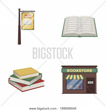 A signboard, a bookstore, a stack of books, an open book. A library and a bookstore set collection icons in cartoon style vector symbol stock illustration .