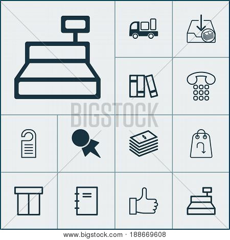 Ecommerce Icons Set. Collection Of Callcentre, Till, Discount Coupon And Other Elements. Also Includes Symbols Such As Bookshelf, Paper, Notebook.