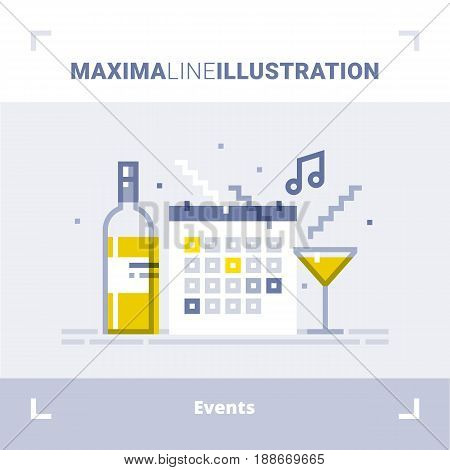 Concept of events management, catering service agency, marketing agency, organization of celebration and party. Maxima line illustration. Modern flat design. Vector composition.