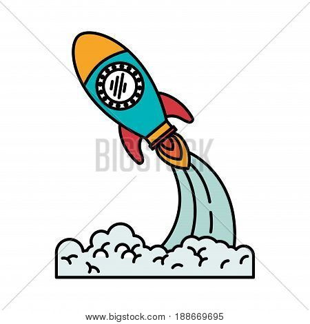 colorful silhouette of pace rocket launch vector illustration