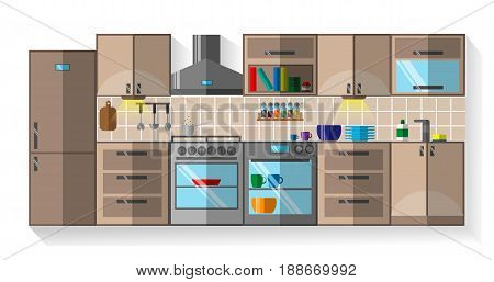 Kitchen Flat Design, Kitchen with Furniture, Dishes and Fridge, Cupboard, Kitchen Stove, Kitchen Hood, Dishwasher, Flat Style, Vector Illustration EPS 10