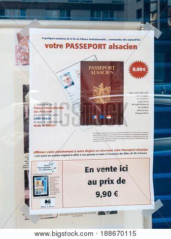 STRASBOURG FRANCE - APR 27 2017: Passeport Alsacien - Alsace Passport for sale for tourists and locals in Strasbourg Alsace France