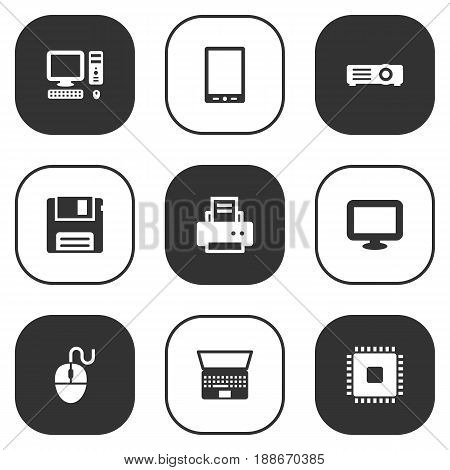 Set Of 9 Notebook Icons Set.Collection Of Show, Microprocessor, Diskette And Other Elements.