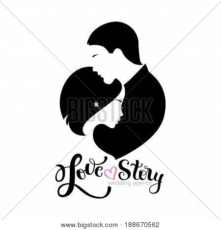 Wedding agency logo with silhouettes bride and groom and modern brush lettering