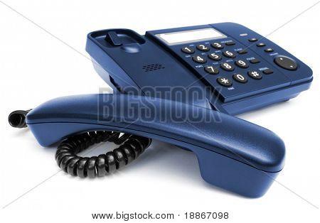 One black telephone isolated on white background