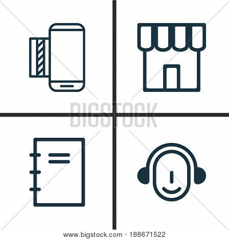 Ecommerce Icons Set. Collection Of Employee, Spiral Notebook, Mobile Service And Other Elements. Also Includes Symbols Such As Notebook, Store, School.