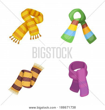 Various kinds of scarves, scarves and shawls. Scarves and shawls set collection icons in cartoon style vector symbol stock illustration .