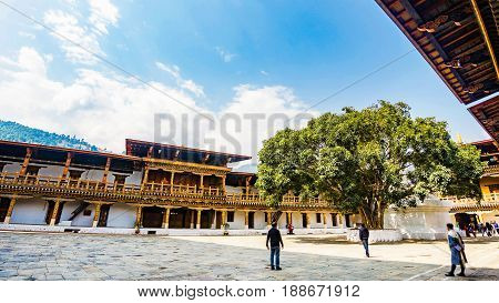 Punakha Bhutan March 03 2016 :The hardscape plaza and the Sri Maha Bodhi with the terrace building background with Bhutan temple in Asia Punakha Bhutan