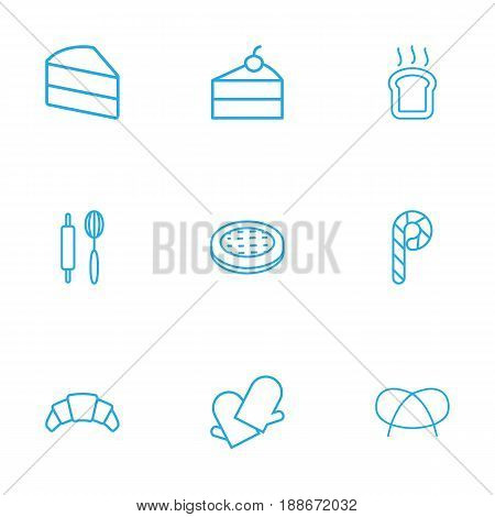 Set Of 9 Food Outline Icons Set.Collection Of Pretzel, Rolling Pin, Apple Pie And Other Elements.