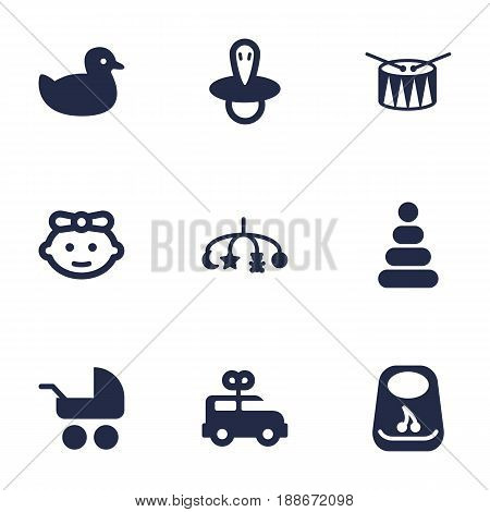 Set Of 9 Child Icons Set.Collection Of Barrel, Girl, Bus And Other Elements.