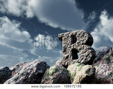 letter b rock under blue sky - 3d illustration