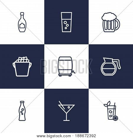 Set Of 9 Drinks Outline Icons Set.Collection Of Champagne, Soda, Wine Cask And Other Elements.